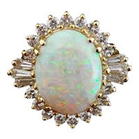 Vintage 18K Yellow Gold, Opal and Round Baguette Diamond Cluster Ring, Sz: 6.25
