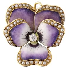 Antique Art Nouveau 14K Enamel Enameled Diamond See Pearl Pansy Pendant Watch Pin