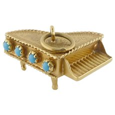 Vintage Italian 18K Yellow Gold & Turquoise Grand Piano Charm or Pendant c.1950s-1960s