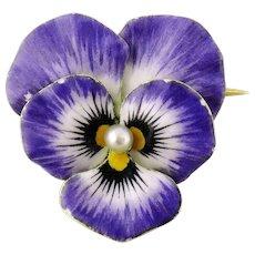 Krementz Art Nouveau 14K Enamel Enameled Pearl Pansy Flower Brooch Pin