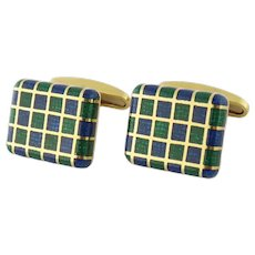 Vintage Men's 18K Gold & Enamel Checker Motif Cufflinks