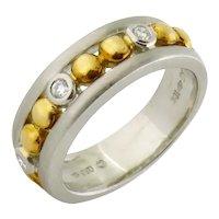 Estate Women's Platinum 18K Gold Diamond 6mm Wedding Band Ring Sz: 5.75