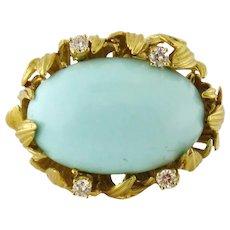 Vintage Estate Italian 18K Gold, Natural Turquoise, Diamond Pin Brooch Pendant