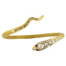Vintage 22K Textured Gold Rose-cut Diamond Ruby Snake Bangle Bracelet