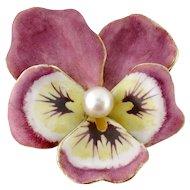 Antique Art Nouveau 14K Enamel Enameled Pearl Pansy Flower Large Brooch Pin