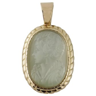 Vintage 14K Yellow Gold Rock Crystal Female Cameo Pendant