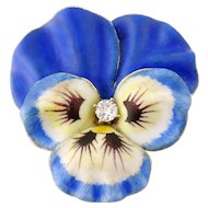 Antique Art Nouveau 14K Enamel Enameled Diamond XL Pansy Flower Brooch Pin