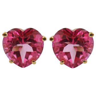 Vintage 14K Yellow Gold & 9ct tw Synthetic Ruby Heart Stud Studs Earrings
