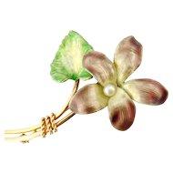 Krementz Antique Art Nouveau 14K Iridescent Enamel Pearl Flower Pin