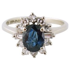 Vintage Estate 14K Gold 0.65ct Sapphire 0.25ct Single-cut Diamond Cluster Ring