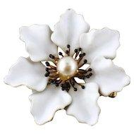 A.J. Hedges Art Nouveau 14K Enamel Pearl Large White Flower Watch Pin Brooch