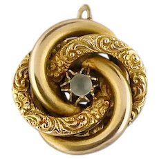 Antique Victorian 10K Yellow Gold & Moonstone Lover's Knot Charm or Pendant | Antique Brooch Conversion