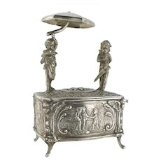 Estate Angels Cherubs Decor Singing Birds Box Automaton Sterling Silver, Germany