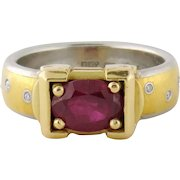 Vintage Platinum, 24K Gold & GIA 2.38ct Burma Ruby Diamond Ring Band, Size 10