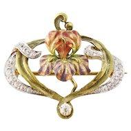 Antique Art Nouveau 18K Platinum 0.65ct Old Mine-cut Diamond Enamel Iris Brooch
