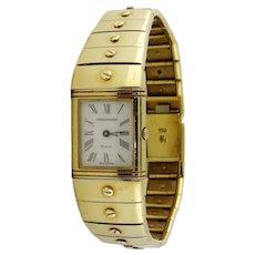 Vintage Jaeger LeCoultre REVERSO 18K Gold Lady's Wristwatch Bracelet, c. 1985