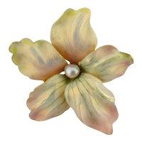 Henry Blank & Co Art Nouveau 14K Gold Iridescent Enamel Pearl Flower Pin
