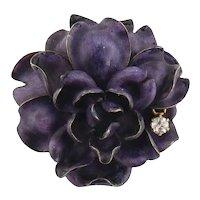 Antique D. de W. Brokaw 14K Enamel Diamond Cabbage Rose Flower Brooch Pendant
