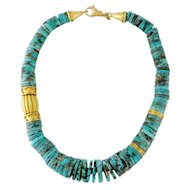 Estate 19K Yellow Gold & Graduated Turquoise Rondelle Necklace