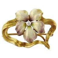 Antique Art Nouveau 14K Gold Iridescent Enamel Diamond Flower in Whiplash Pin
