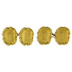 """Antique Tiffany & Co 18K Yellow Gold Double Sided Initial """"F"""" Cufflinks"""