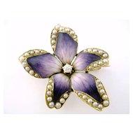 Art Nouveau Crane Theurer 14K Enamel Enameled Pearl Violet Flower Watch Pin