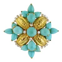 Vintage 18K Yellow Gold, Turquoise & Diamond Large Cluster Brooch Clip Pendant