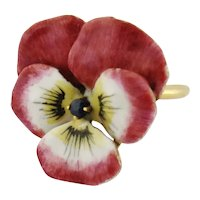 Vintage 14K Enamel Sapphire Pink Pansy Ring |Brooch Conversion