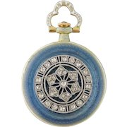 Antique Edwardian Longines 14K Enamel Platinum Diamond Pendant Watch c.1915