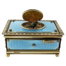 Antique Sterling Silver Guilloche Enamel Diamond Singing Bird Box Automaton, Germany