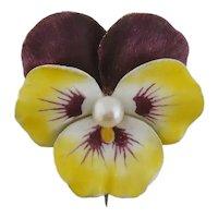 Vintage 14K Enamel Enameled Pearl Large Pansy Flower Brooch Pin