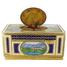 Vintage Estate Gilt Metal & Enamel Miniature Singing Bird Box Automaton By Karl Griesbaum (Germany, mid to late 20th Century)