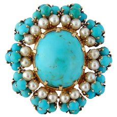 Vintage French 18K Gold Natural Turquoise and Pearl Cluster Brooch Clip Pendant