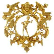 Vintage Estate Eric de Kolb Huge 18K Yellow Gold Allegorical Pendant