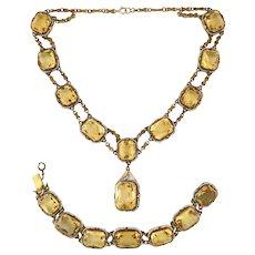 Exquisite Antique Art Deco 14K Gold Citrine Seed Pearl Necklace Bracelet Set