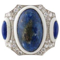 Art Deco Platinum Single-cut Diamond Lapis Enamel Cocktail Ring