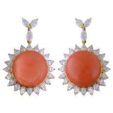 Vintage 18K Gold Coral Cabochon & Diamond Cluster Pendant Drop Earrings