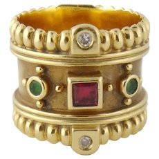 Estate 18K Yellow Gold Ruby Emerald Diamond 17mm Wide Band Ring
