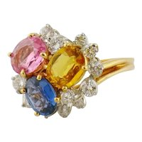 Estate Oscar Heyman 18K Platinum Sapphire Diamond Cluster Cocktail Ring with Certificate