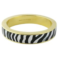 Rare Estate Tiffany & Co 18K Gold MOP & Black Jade Bangle Bracelet