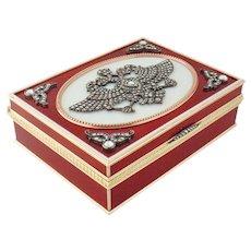 Estate 14K Gold Enamel Silver Rose-cut Diamond Imperial Russian Style Box