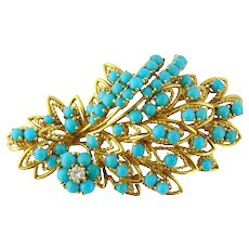 Vintage 18K Yellow Gold, Turquoise & Diamond Leaf Brooch