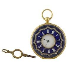 Antique Muller Geneve 18K Enamel Rose-cut Diamond Half Hunter 36mm Pocket Watch