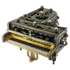 Vintage Estate Reuge Sterling Silver Enamel Grand Piano Music Box