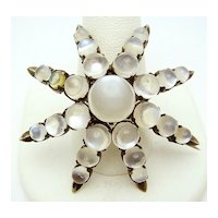 Antique Silver Moonstone Cabochon Star Brooch Pin.  c.1880