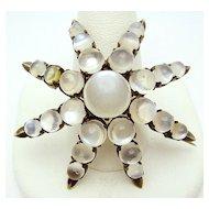 Antique Silver Moonstone Cabochon Star Brooch Pin.  c.1880