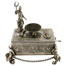 Vintage Estate Sterling Silver Singing Bird Box Automaton, Germany