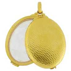 Antique French 18K Hammered Gold X-Large Mirror Slide Locket Compact Pendant