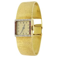 Vintage Patek Philippe for Cartier 18K Diamond Ruby Lady's Wristwatch, c.1960s-1970s