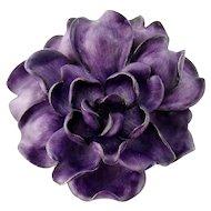Antique D. de W. Brokaw 14K Enamel Enameled Cabbage Rose Flower Brooch Pendant